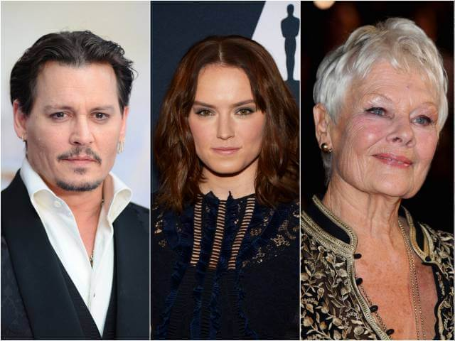 Johnny Deep, Daisy Ridley & Judi Dench